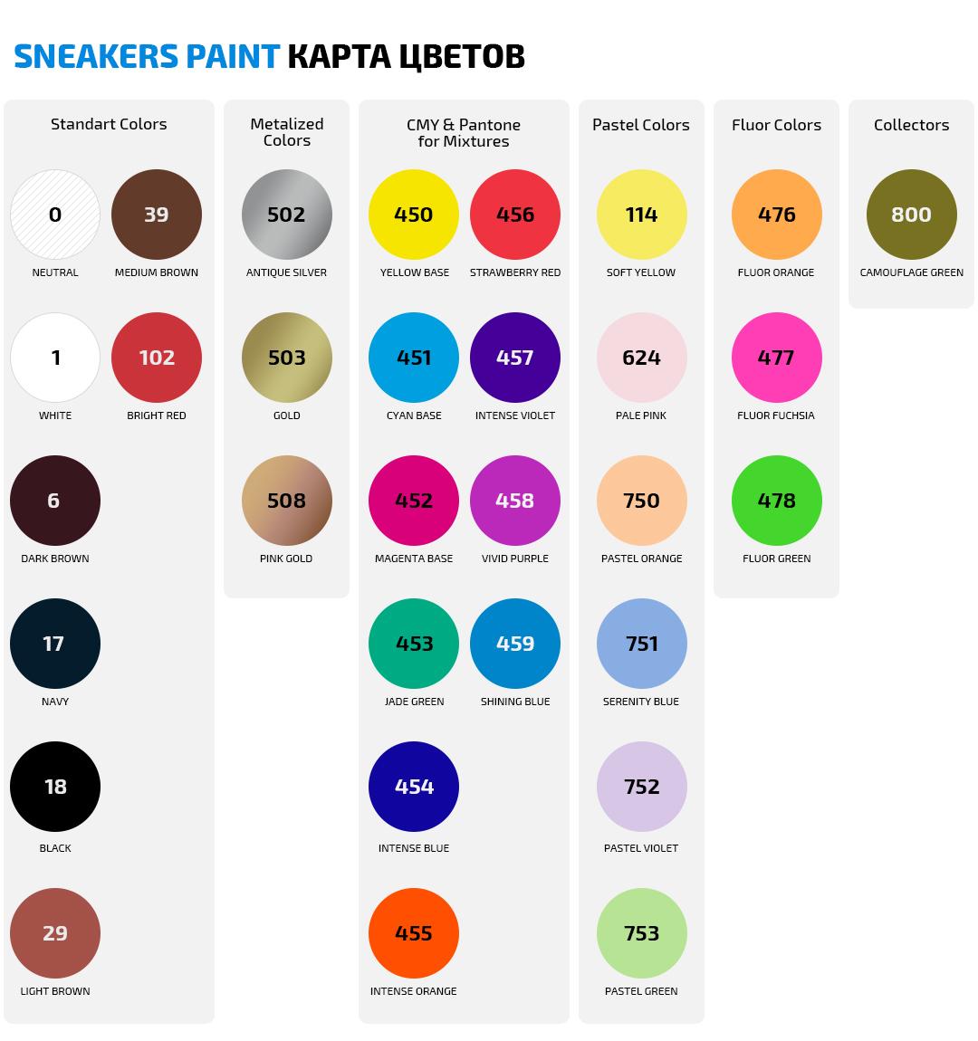Карта цветов Sneakers Paint